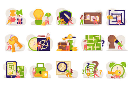 Quest game flat recolor compositions set with doodle human characters and conceptual puzzle gaming pictogram icons vector illustration