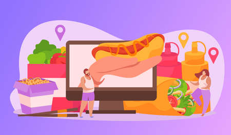 Food delivery flat composition of desktop computer and hand with hotdog bottles of sauce and people vector illustration
