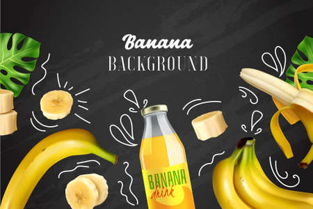 Banana colored background with realistic images of whole and chopped fruit and bottle with drink on chalkboard vector illustration