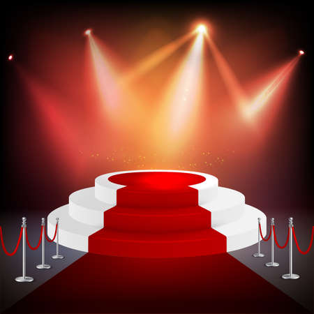 Isolated red carpet realistic composition with spotlights and pedestal or round podium vector illustration