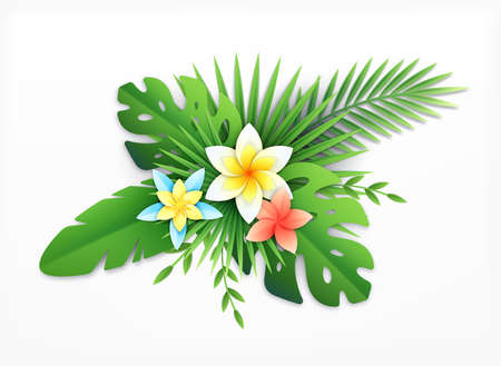 Paper tropical leaves flowers composition with paper crafted exotic blossom with colourful plants on blank background vector illustration 矢量图像