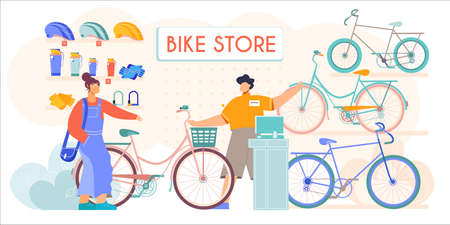 Bicycle store new second hands bikes accessories helmets sale flat composition with salesman assisting customer vector illustration