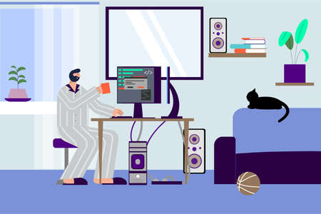 It specialist freelancer flat composition with indoor scenery of programmers living room with pc and cat vector illustration 矢量图像