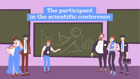 Scientific conference flat background with young participant   demonstrating presentation to audience vector illustration