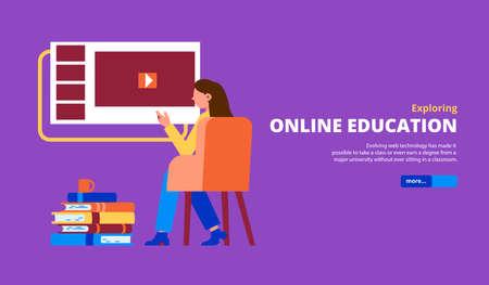 Woman exploring online education programs courses classes lessons tutorials flat horizontal violet background web banner vector illustration