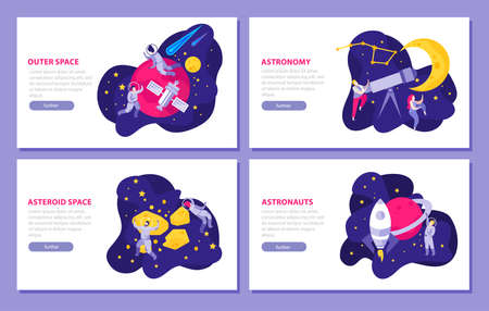 Astronomy space people flat 4x1 set of horizontal banners with doodle images editable text and buttons vector illustration
