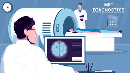 Mri examination flat composition with diagnostics office scenery and doctor characters with medical apparatus and patient vector illustration 矢量图像