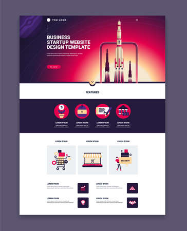 Business website page design template with three launching rockets colorful images and features flat vector illustration