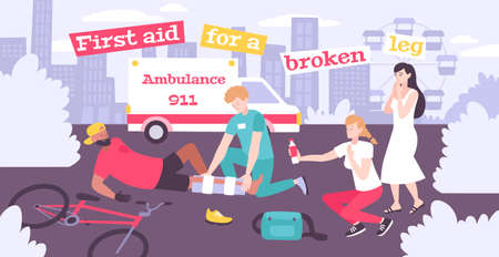 First aid fracture flat composition with outdoor scenery editable text ambulance and person with broken leg vector illustration