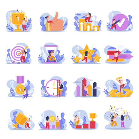 Winner people flat icons set with isolated doodle compositions of people with goals and achievements images vector illustration