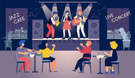 Music concert cafe flat composition with indoor view of restaurant with sitting listeners and live band vector illustration