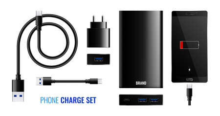 Set of isolated phone charge realistic icons with text and images of power banks and adapters vector illustration