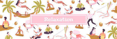 Relaxation flat pattern with people enjoying nature on summer vacation and doing meditation vector illustration 矢量图像