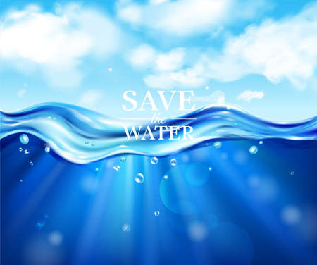 Save water realistic poster with ocean and sea symbols  vector illustration