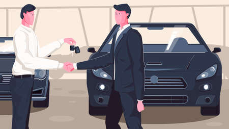 Used car dealer flat composition with human characters of automobile dealership manager shaking hands with buyer vector illustration