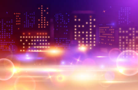 Night city lights composition with tall building windows of different colour and absract spots glowing blurs vector illustration