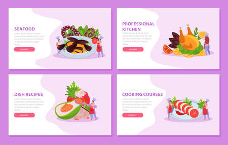 Professional kitchen flat 4x1 set of horizontal banners with gourmet dishes cooking courses ad and text vector illustration 矢量图像