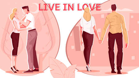 Love people flat composition with images of couple during date and outdoor walk with editable text vector illustration 矢量图像
