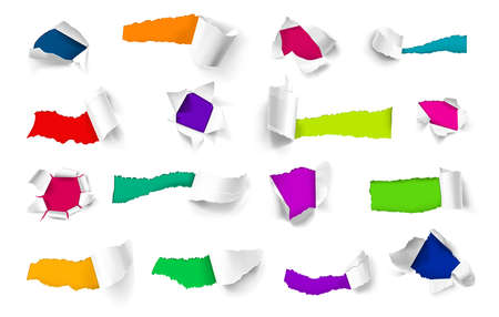 Colorful background under torn sheets of white paper realistic set isolated vector illustration