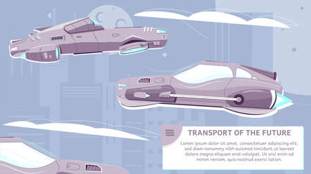 Transport of future flat poster with vehicles of new generation on modern city skyscrapers background vector illustration 矢量图像