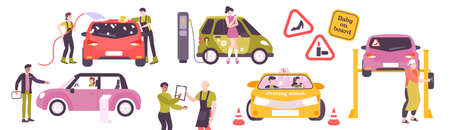Woman driving set of isolated icons and flat images of car service wash and female drivers vector illustration 矢量图像