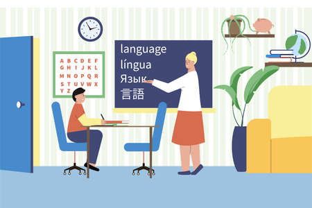 Language tutor flat composition with home scenery characters of student and teacher writing words in chalk vector illustration