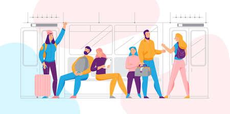 Public transport concept with commuting and transportation symbols flat vector illustration 矢量图像