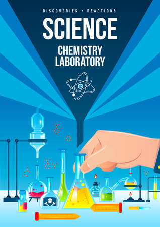 Science chemistry laboratory vertical poster with flasks tubes with colorful chemicals and other equipment flat vector illustration