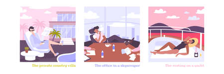 Rich people flat illustrations with millionaires on private country villa in skyscraper office resting on yacht isolated vector illustration