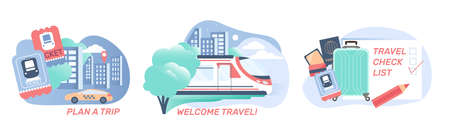 Railway station set of compositions with flat images of travel check list train tickets and text vector illustration 矢量图像