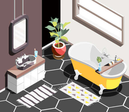 Loft interior isometric background with modern bathroom environment with horizontal window bath and sink with mirror vector illustration 向量圖像