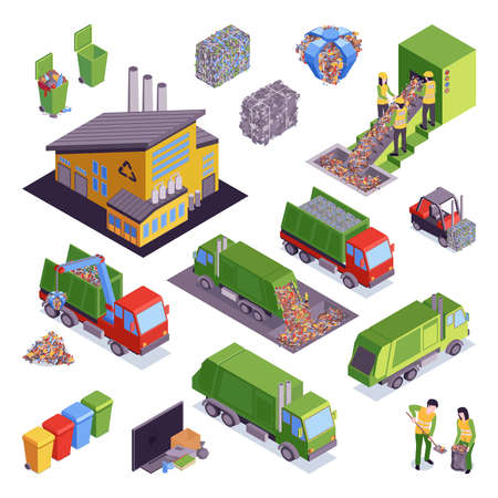 Isometric garbage recycling icon set with sorting and pressing garbage containers and trucks vector illustration