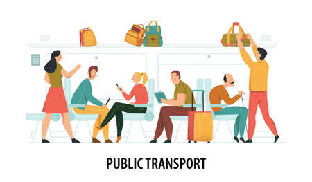 Public transport composition with commuting people symbols flat vector illustration