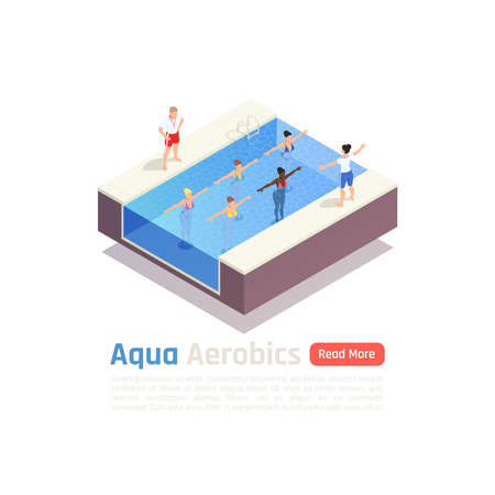 Aqua fitness exercise class isometric composition with water aerobics instructor training program in swimming pool vector illustration