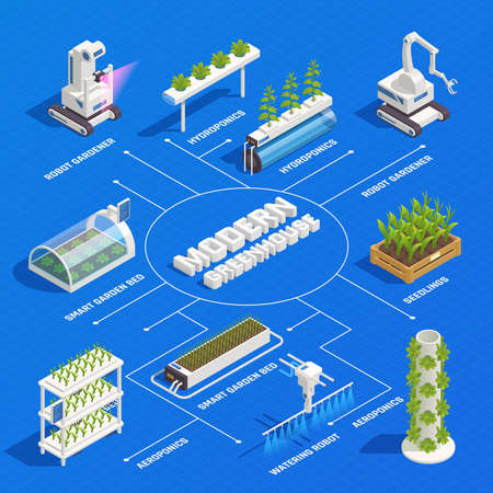 Modern greenhouse smart plant beds robots gardeners hydroponic and aeroponic systems germinated seedlings isometric flowchart vector illustration Vectores