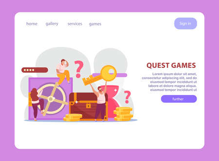 Quest game flat website design landing page with composition of doodle images clickable links and text vector illustration