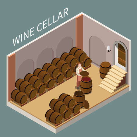 Isometric wine cellar with lots of barrels and vigneron 3d vector illustration Illustration