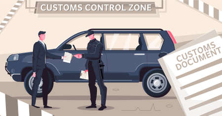 Customs clearance cars flat composition with stripes and document images with characters of guard and driver vector illustration