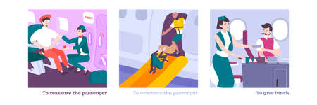 People on board flat compositions with flight attendants giving lunch reassuring passenger  providing evacuation flat vector illustration