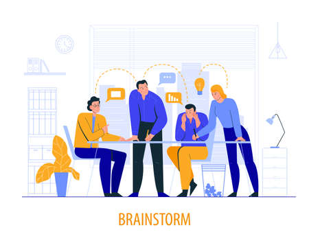 Flat office scene composition with brainstorm description and colleagues at the meeting vector illustration