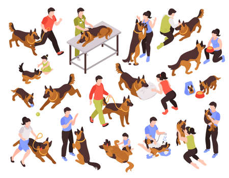 Isometric one day dog man owner set of isolated colourful images with animals and human characters vector illustration  イラスト・ベクター素材