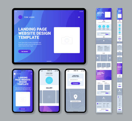 Set of modern website landing page design templates for mobile phone or tablet with gallery articles contact form flat isolated vector illustration Vektorové ilustrace