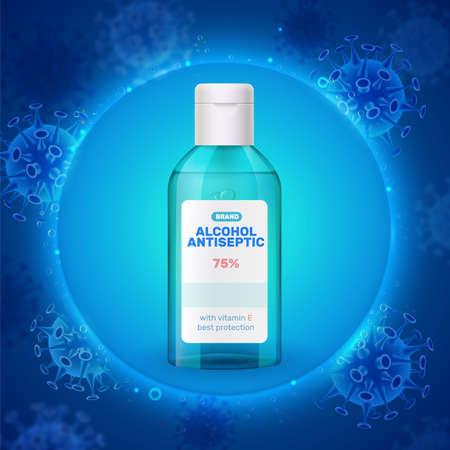 High alcohol concentration antiseptic sanitizer realistic green transparent plastic bottle against luminous blue virus background vector illustration