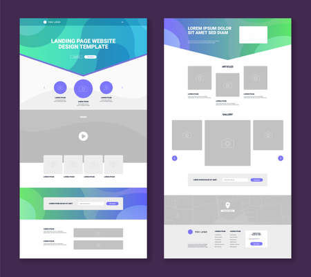 Set of two website landing page templates with simple design gallery articles video map contact form flat isolated vector illustration