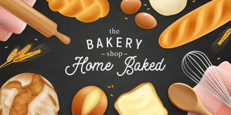 Realistic bread pastry ads horizontal poster background with editable ornate text surrounded by crumbs and bakery vector illustration