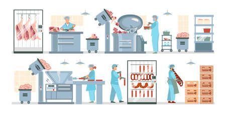 Meat processing plant flat composition with factory kitchen equipment with workers in uniform making meat products vector illustration