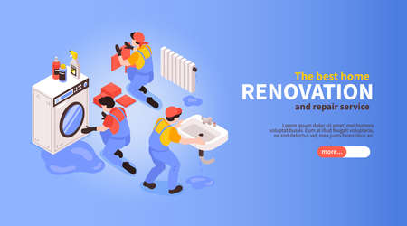 Home renovation remodeling service concept horizontal isometric web banner with professional team repairing installing sanitary vector illustration Vektorové ilustrace