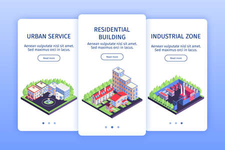 Isometric urban vertical banner set urban service residential building and industrial zone descriptions vector illustration Vetores
