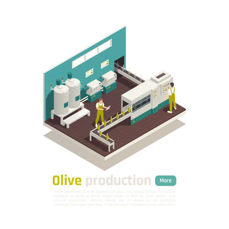 Olive oil production facility isometric composition with bottles filling machine automated line with conveyor belt vector illustration  Illustration