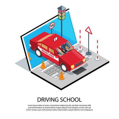 Isometric driving school online training composition with editable text description and images of computer and car vector illustration